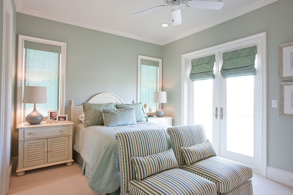 Relaxing traditional bedroom in pastel green and white # ...