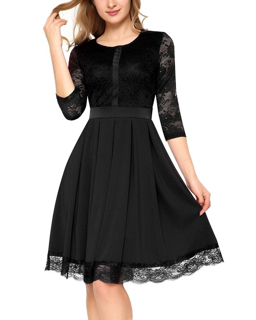 998436eb37a7f Mixfeer Women s Vintage Floral Lace 2 3 Sleeve Elegant Pleated Cocktail  Evening Party Dress