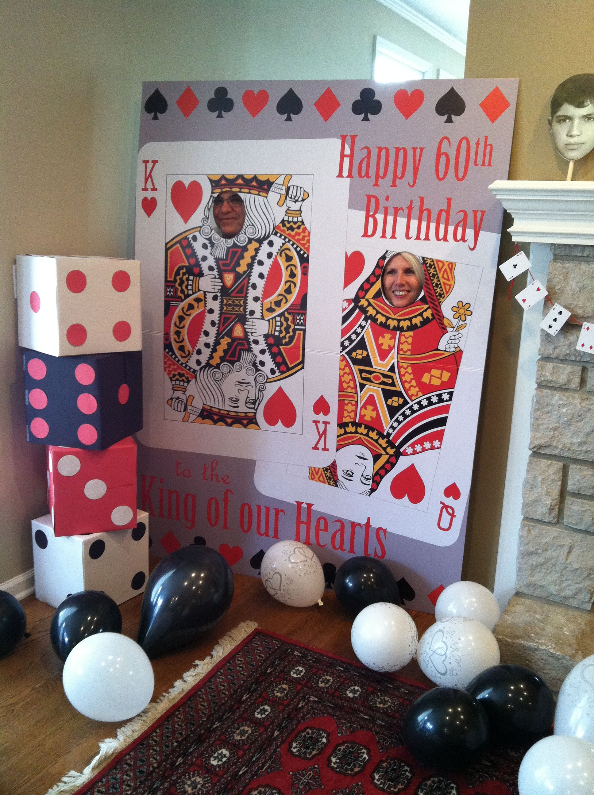 King of Our Hearts Poker theme 60th Birthday Party Decorations