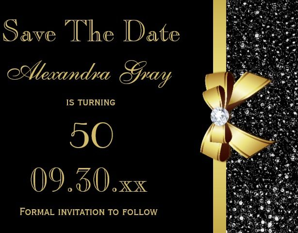 Any Age Birthday Save The Date Black And Gold Card Save The Date