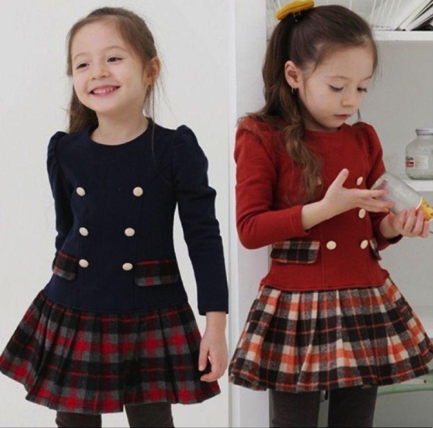Baby / Little Girls Long Sleeve Top & Tartan / Plaid Skirt