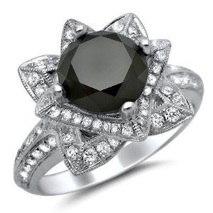 3.15ct Black Round Diamond Lotus Flower Engagement Ring 14K White Gold With A 2.20ct Center Diamond and .95ct of Surrounding Diamonds on Amazon - so neat!