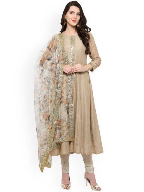 4d839c719d Buy Ahalyaa Beige & Off White Anarkali Kurta With Dupatta - Kurta Sets for  Women | Myntra