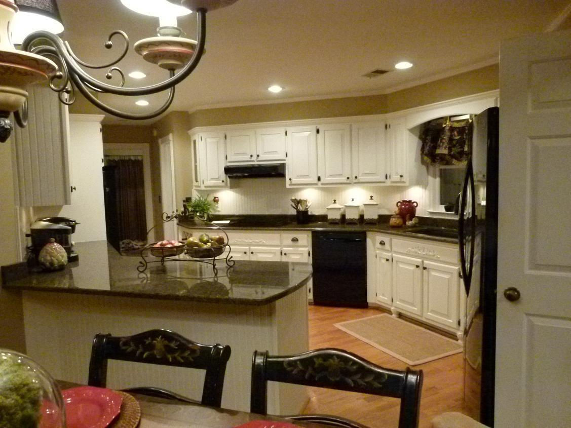 beige kitchen cabinets granite countertop remodel complete tropic brown dover white