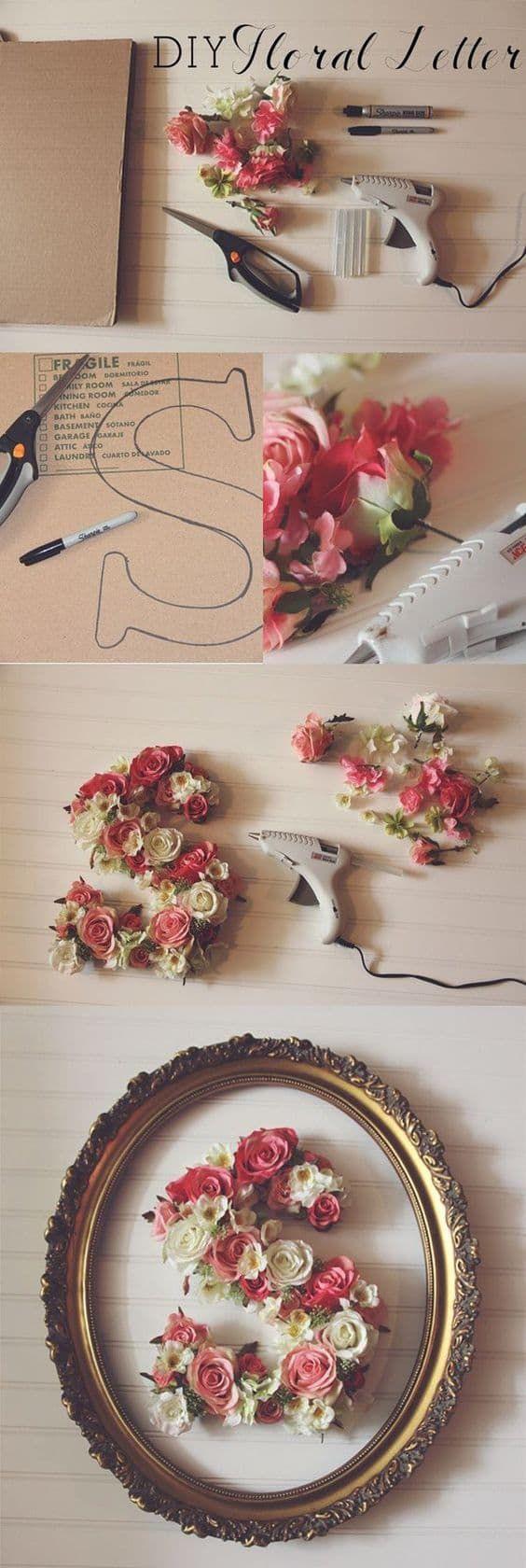 Floral letters diy wall art easy video instructions crafts decoracion bebe bricolaje y - Bricolaje y decoracion ...