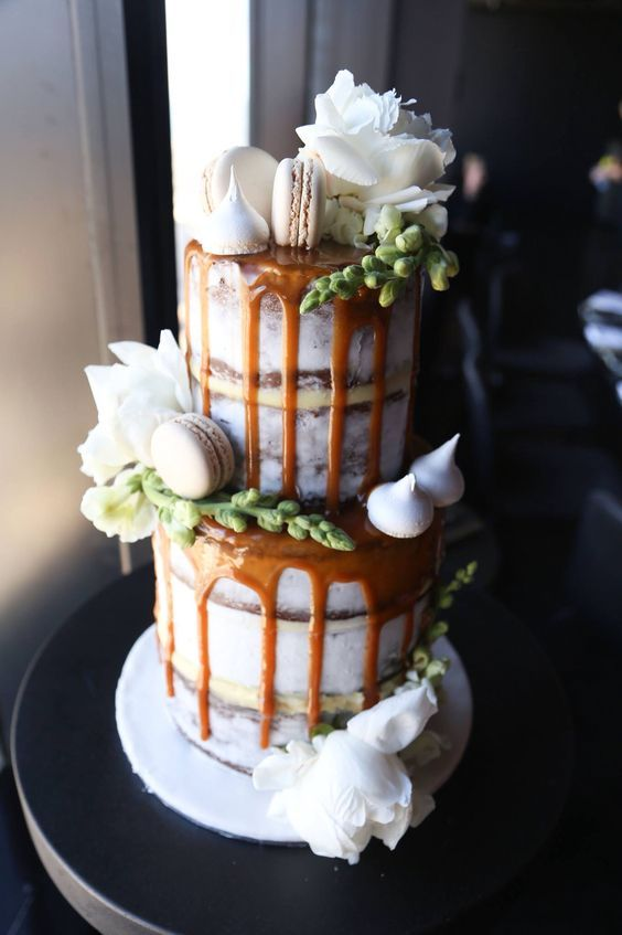 2 tier semi naked salted caramel drizzle cake with fresh