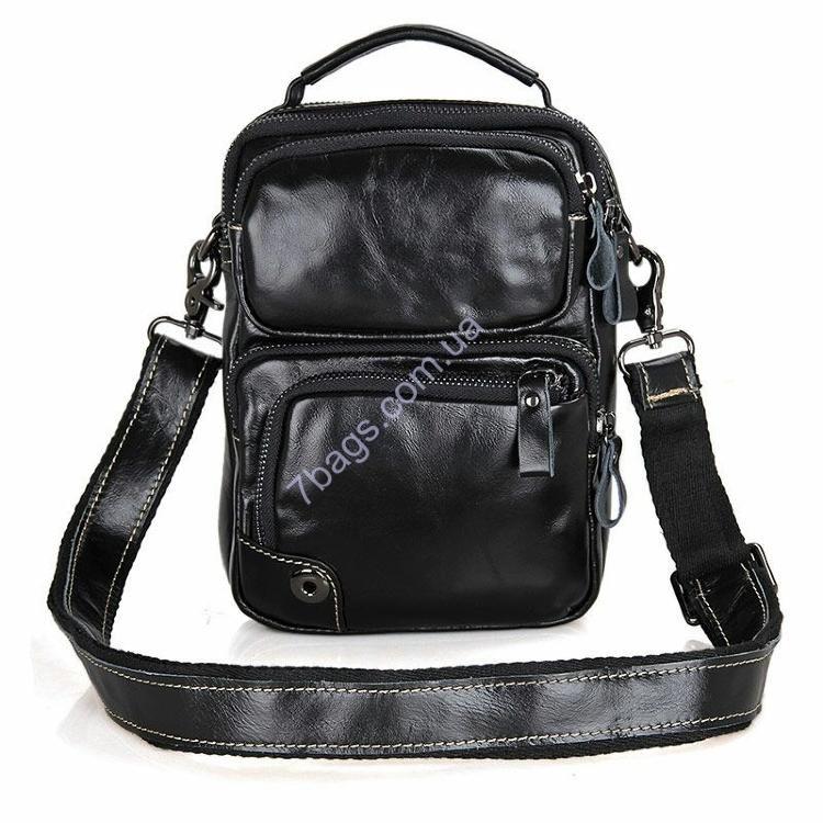 cde13aa2a873 Универсальная мужская кожаная сумка с ремешком через плечо, черная из натуральной  телячьей кожи всемирно-
