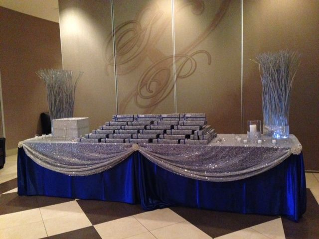 Drape A Royal Blue Satin Tablecloth With Silver Glitz Sequin Tablecloth For An Amazing Guest Table Royal Blue Wedding Silver Wedding Decorations Silver Wedding
