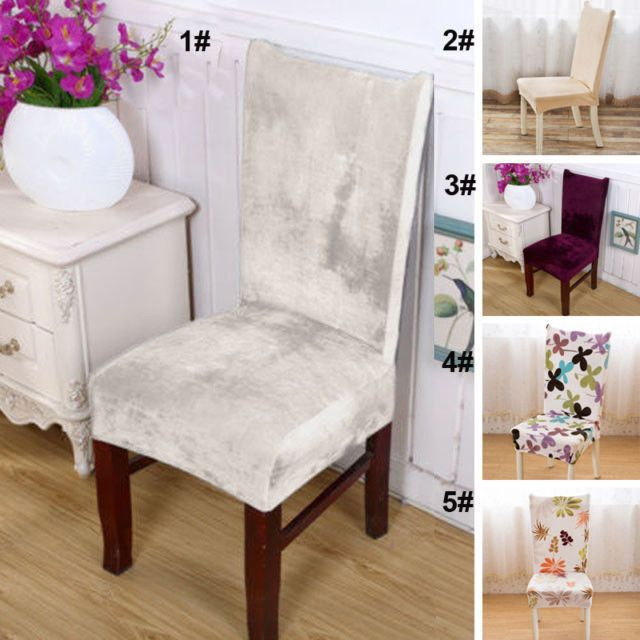 Chair Cover Stretch Plush Dining Room Wedding Kitchen Home Seat Covers  Slipcover #Unbranded
