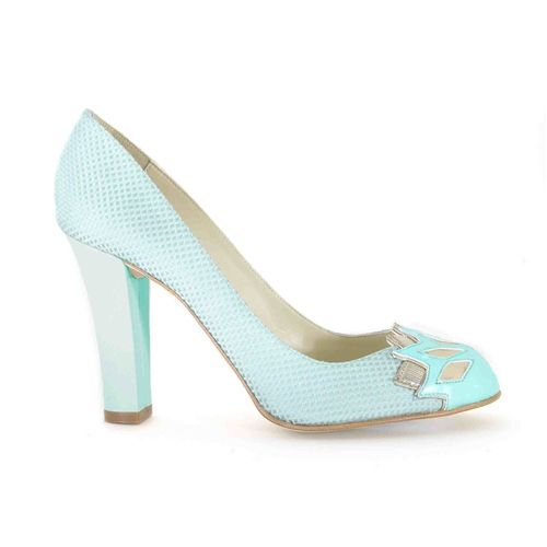 Emerald vintage inspired block high heel round toe vegan court shoe made from pastel turquoise Italian fabric and synthetic faux patent leather 100% Vegan, vegetarian and cruelty-free.