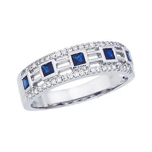 14k White Gold Princess Sapphire Band -- Continue to the product at the image link.(This is an Amazon affiliate link)