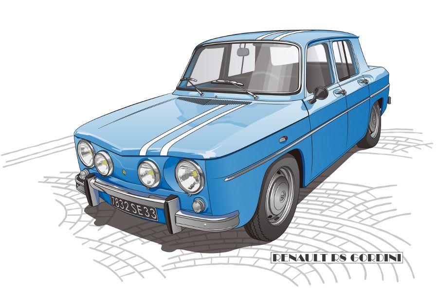 Renault r8 gordini illustration illustration de voiture voiture renault und dessin voiture - Dessin renault ...