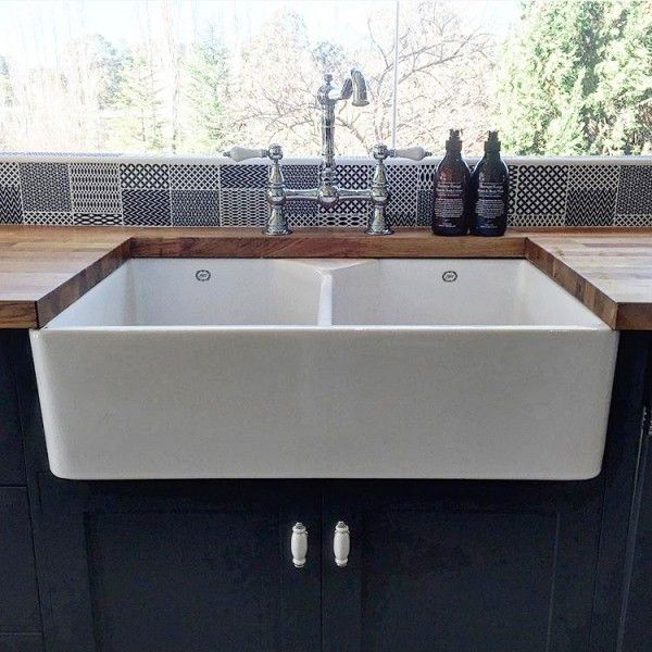 1901 Double Butler Sink 800 x 500 x 220 mm - Including Basket Wastes ...