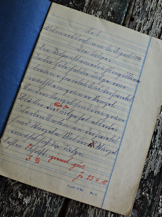 german script school notes from 1910