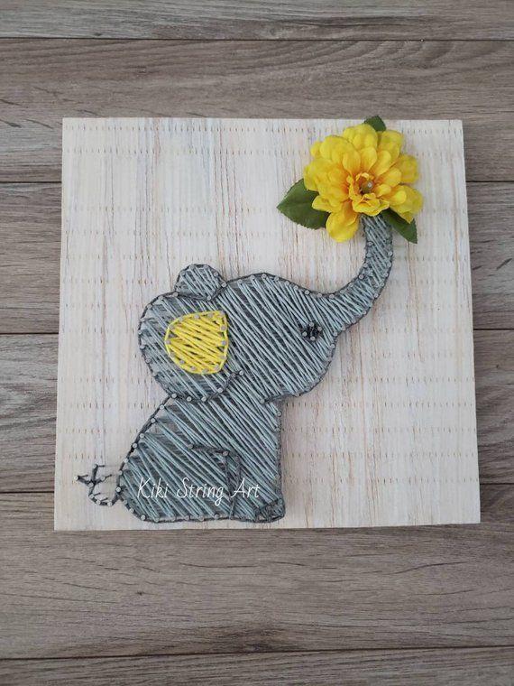 Photo of elephant string art, baby elephant, nursery decor, elephant nursery string art, …