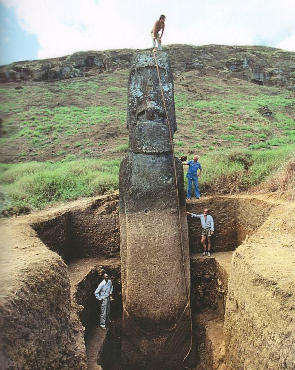 """The Moai """"heads"""" on Easter Island have bodies. Because some of the statues are set deep into the ground, and because the heads are disproportionately large, many people tend to think of them as just big heads. But the bodies are there — in many cases, underground. What's even more interesting — there are petroglyphs (rock markings) that have been preserved below the soil level, where they have been protected from erosion."""