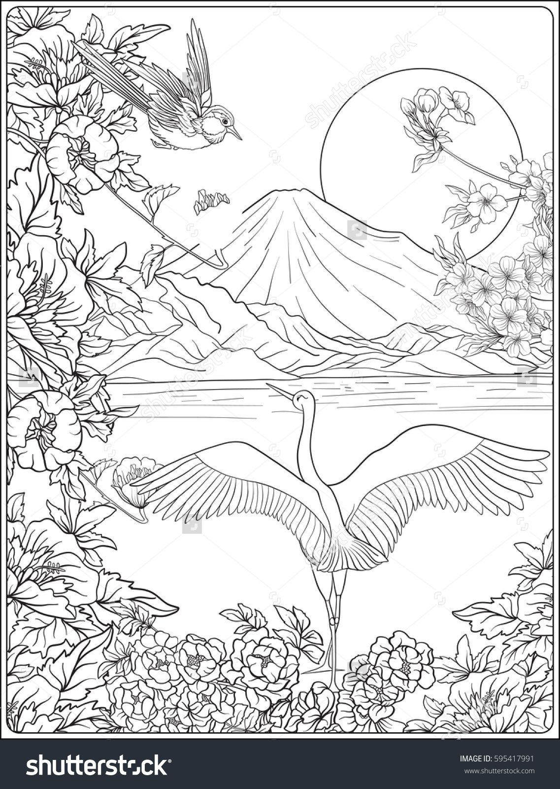 Japanese Landscape With Mount Fuji And Tradition Flowers And A Bird Outline Drawing Coloring Page Coloring Boo Coloring Pages Coloring Books Outline Drawings