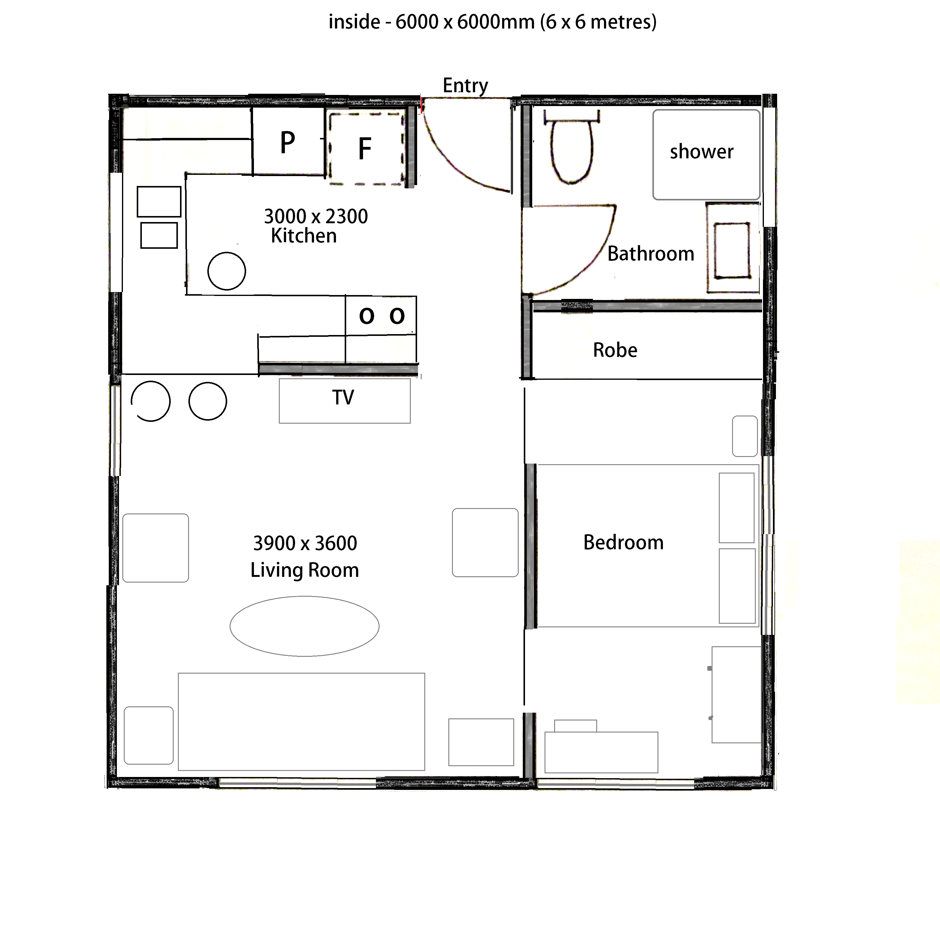 Tiny House Plan 6 X 6 Metres For Out The Front Cottage Floor Plans Bedroom House Plans House Plans