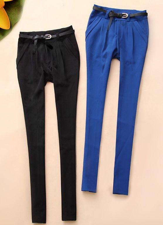 Fashion #Slim pencil pants, navy blue/black/white available, waist style.