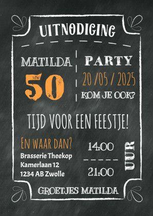 Een leuke uitnodigingskaart met krijt-look voor je verjaardagsfeest. Pas de teksten met je eigen gegevens aan.