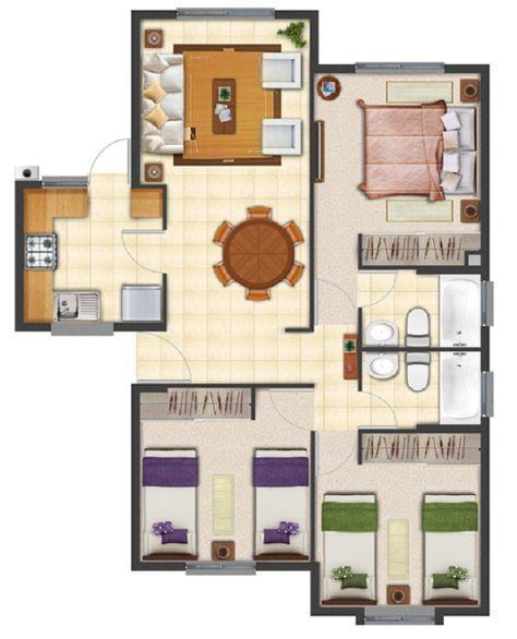 Nuevo Plano de casa proyecto de 63 m2 #casasmodernasplanosde casas