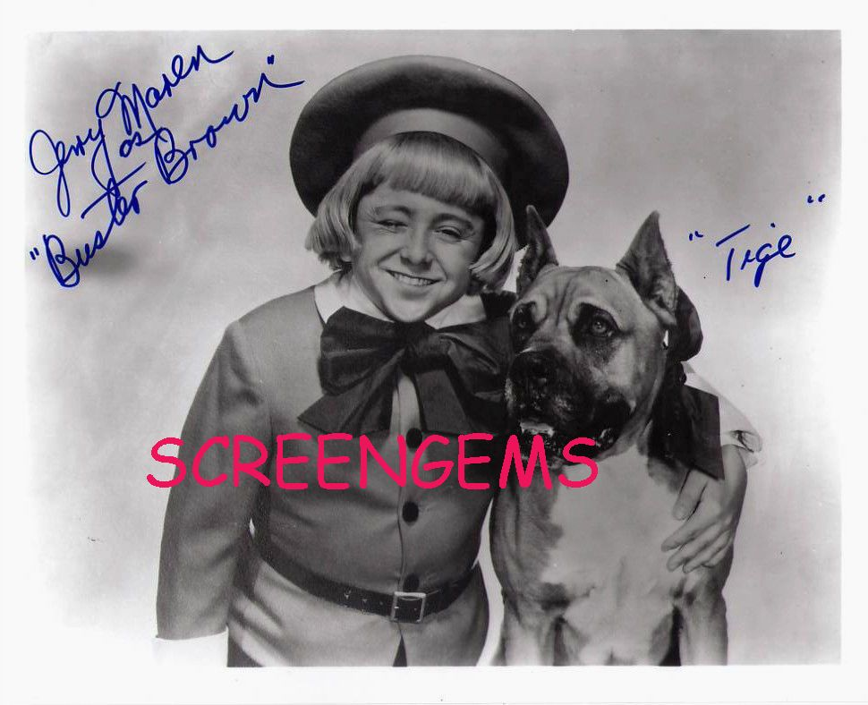 Details About Jerry Maren Rare Signed Photo As Buster Brown Tige