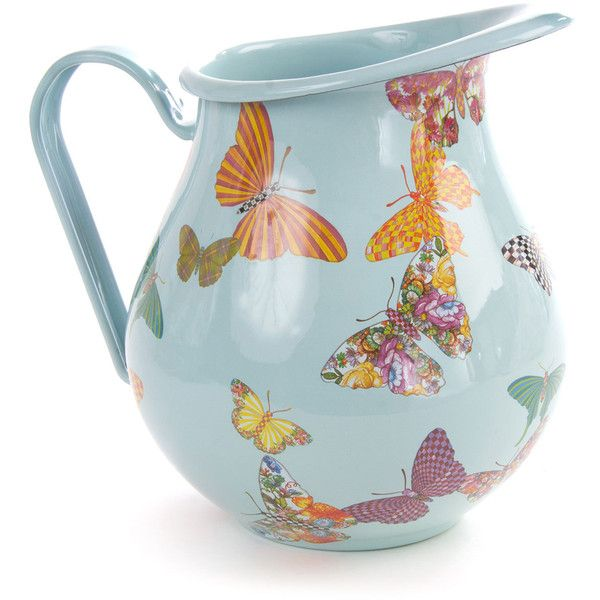 MacKenzie-Childs Sky Butterfly Garden Pitcher (115 CAD) ❤ liked on Polyvore featuring home, kitchen & dining, serveware, multi colors and mackenzie-childs
