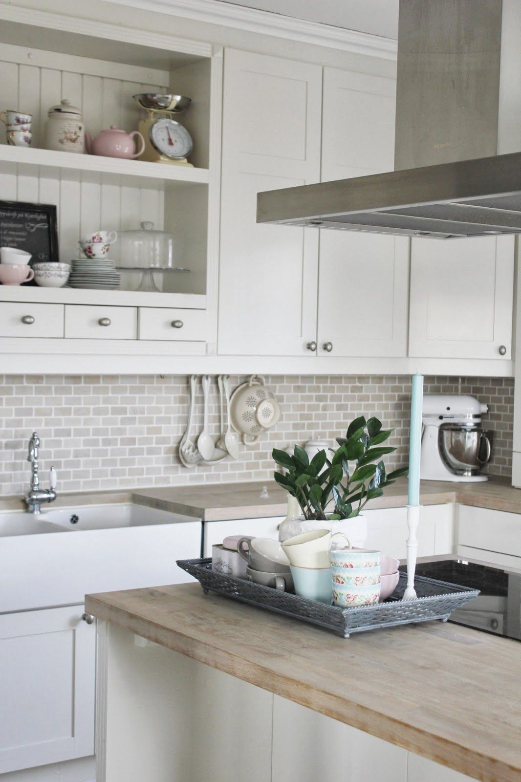 - White Kitchen, Mini Subway Tile, Wood Counters - Both Modern And