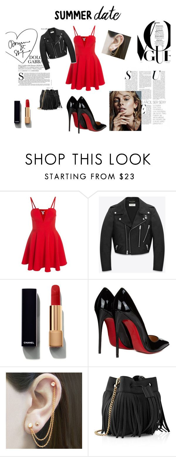 Summer Date by isa-espinoza-guerrero on Polyvore featuring moda, Yves Saint Laurent, Christian Louboutin, Whistles, Embers Gemstone Jewellery and Chanel