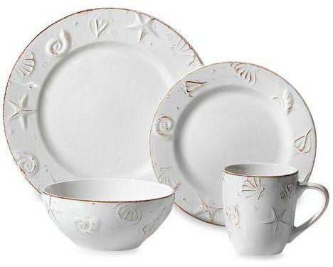 Off-White Dinnerware Plates and Mugs with Embossed Seashells... //.beachblissdesigns.com/2016/10/white-seashell-dinnerware-set-from-bed.html ...  sc 1 st  Pinterest & Beachy Seashell Dinnerware Set   White dinnerware Dinnerware and ...