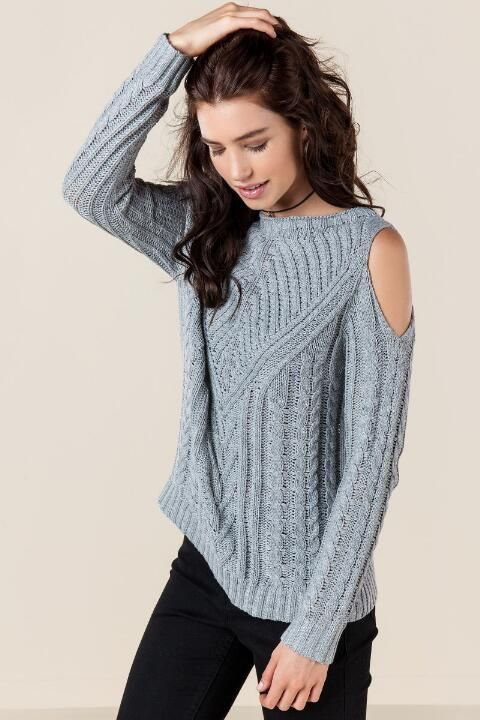 3da2bb9a90 Darby Cold Shoulder Cable Knit Sweater-Gray