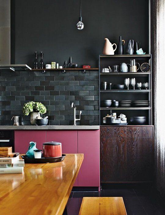 Küchengestaltung in schwarz, anthrazit und pink /// Colorful Kitchen design in black, dark grey and pink #ideas #decoration