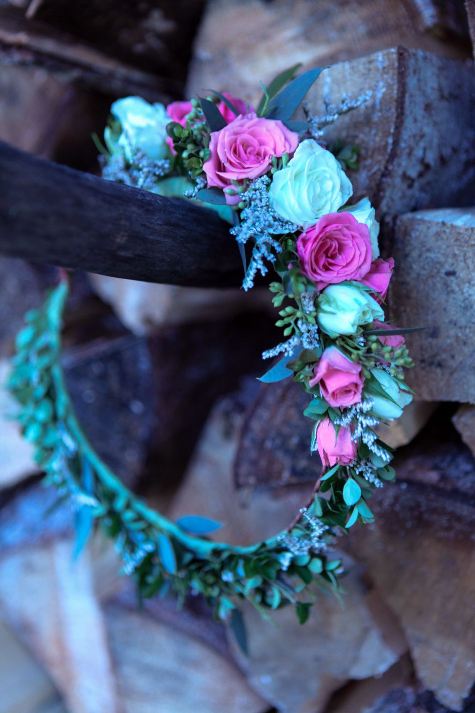 Shabby Chic Wedding Flower Crown Made With Limonium Eucalyptus And