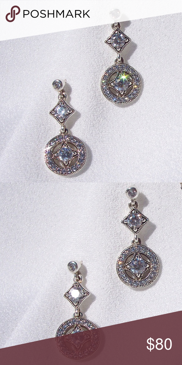 71ead6cc4 Pandora Vintage Allure Drop Earrings Clear CZ A new Pair of Vintage Allure  Drop clear CZ sterling silver stud earrings. Item number is 290722CZ These  ...