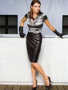 Black Leather Skirt Silver Satin Blouse Black Leather Gloves and ...