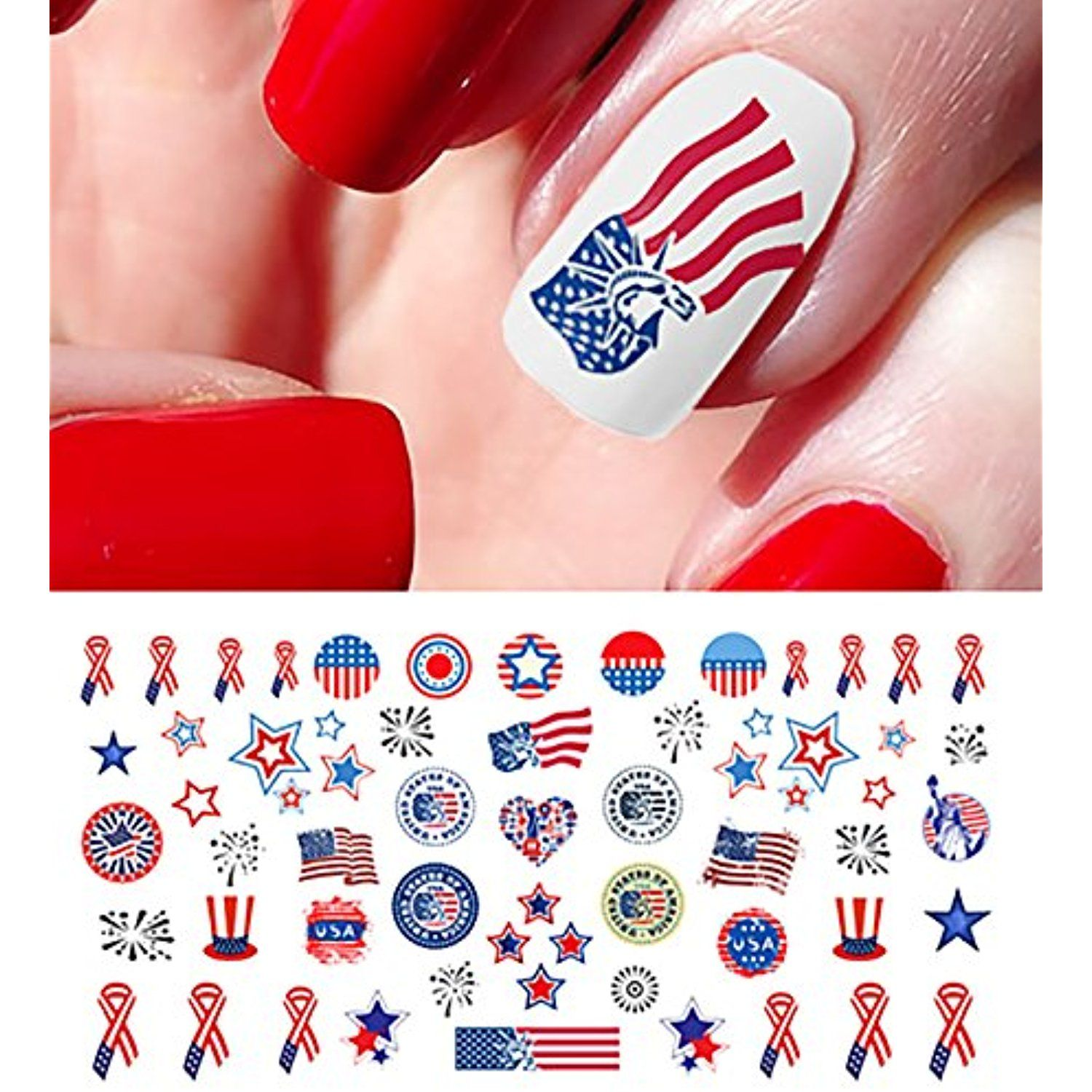 4th of July I Love America Nail Art Waterslide Decals Set ...