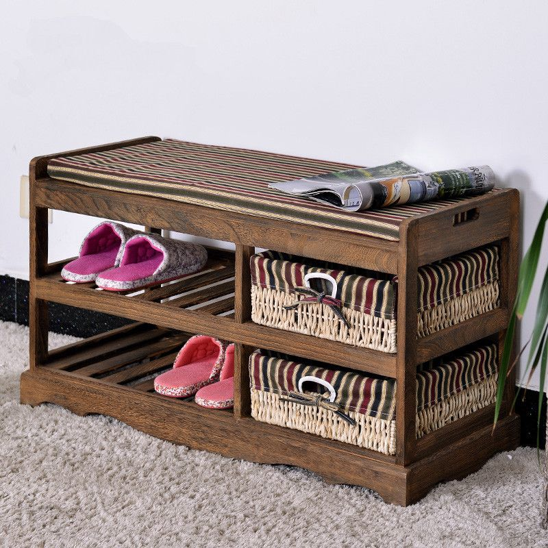 Wooden Shoe Rack With Two Storage Basket Paulownia Solid Wood Bench Living  Room Furniture Japanese Style