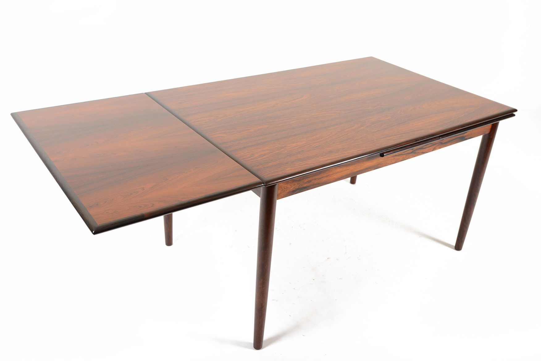 Brazilian Rosewood Draw Leaf Dining Table Mid Century Mobler