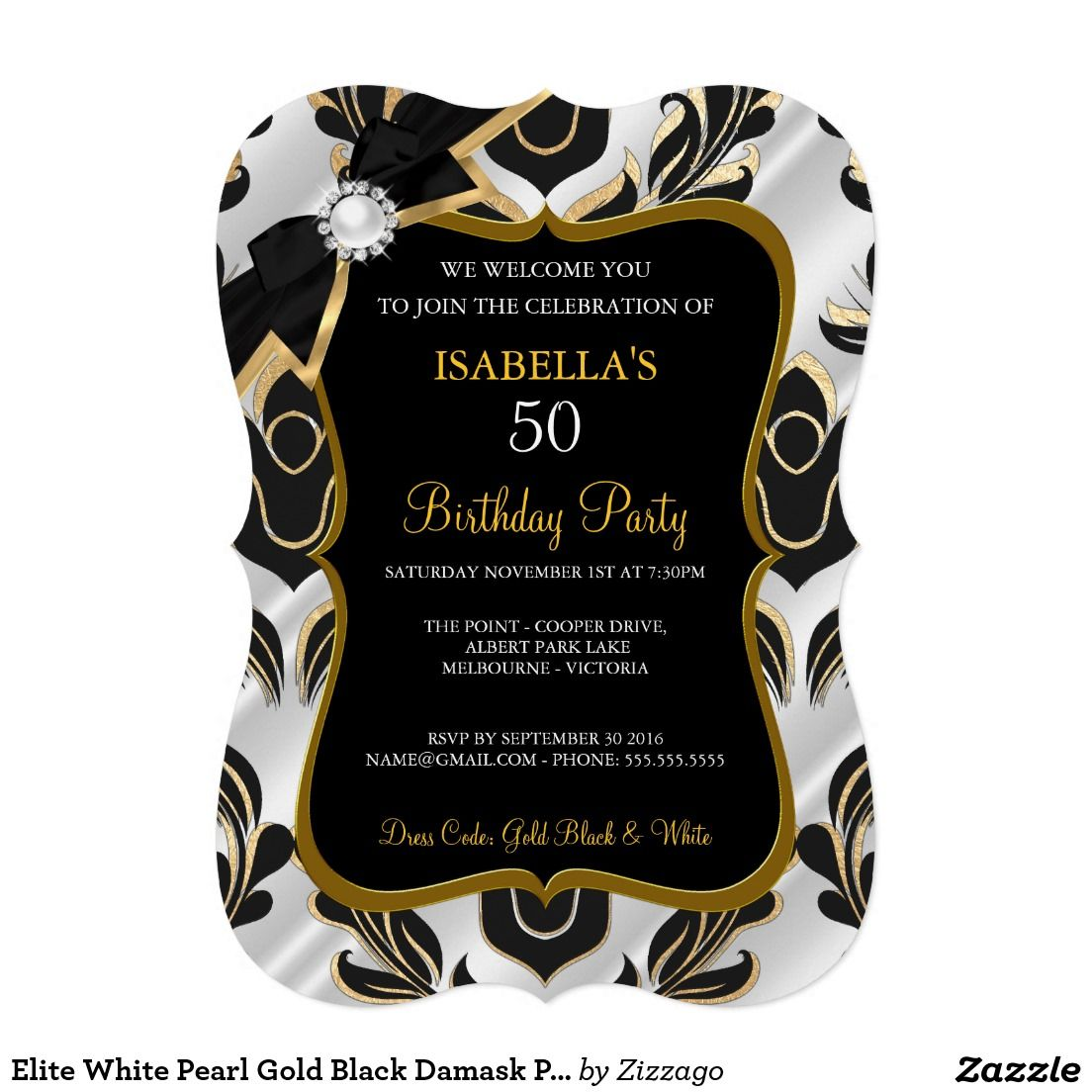 Elite White Pearl Gold Black Damask Party Invite | Womens & Girls ...