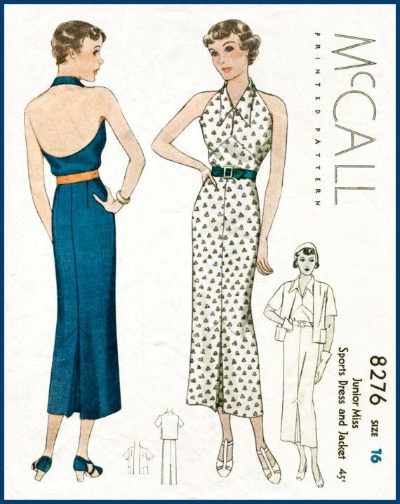 30s 1930s repro vintage women\'s sewing pattern halter neck sun dress ...