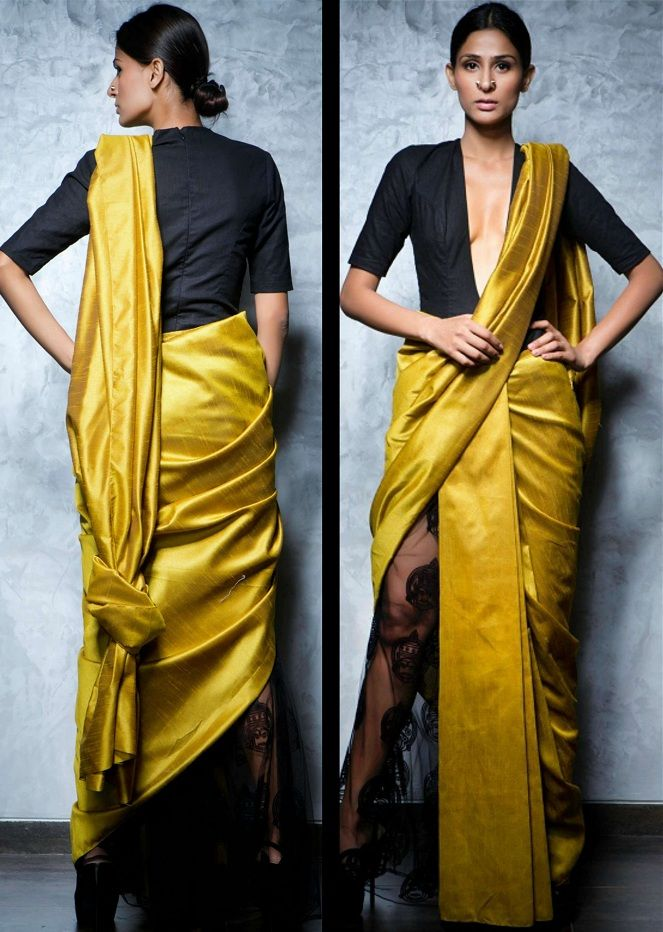 4dff830cef The knot saree drape is a modern twist to a normal saree. You just need to  gather the pallu and tie knots to get a nice, classy look.