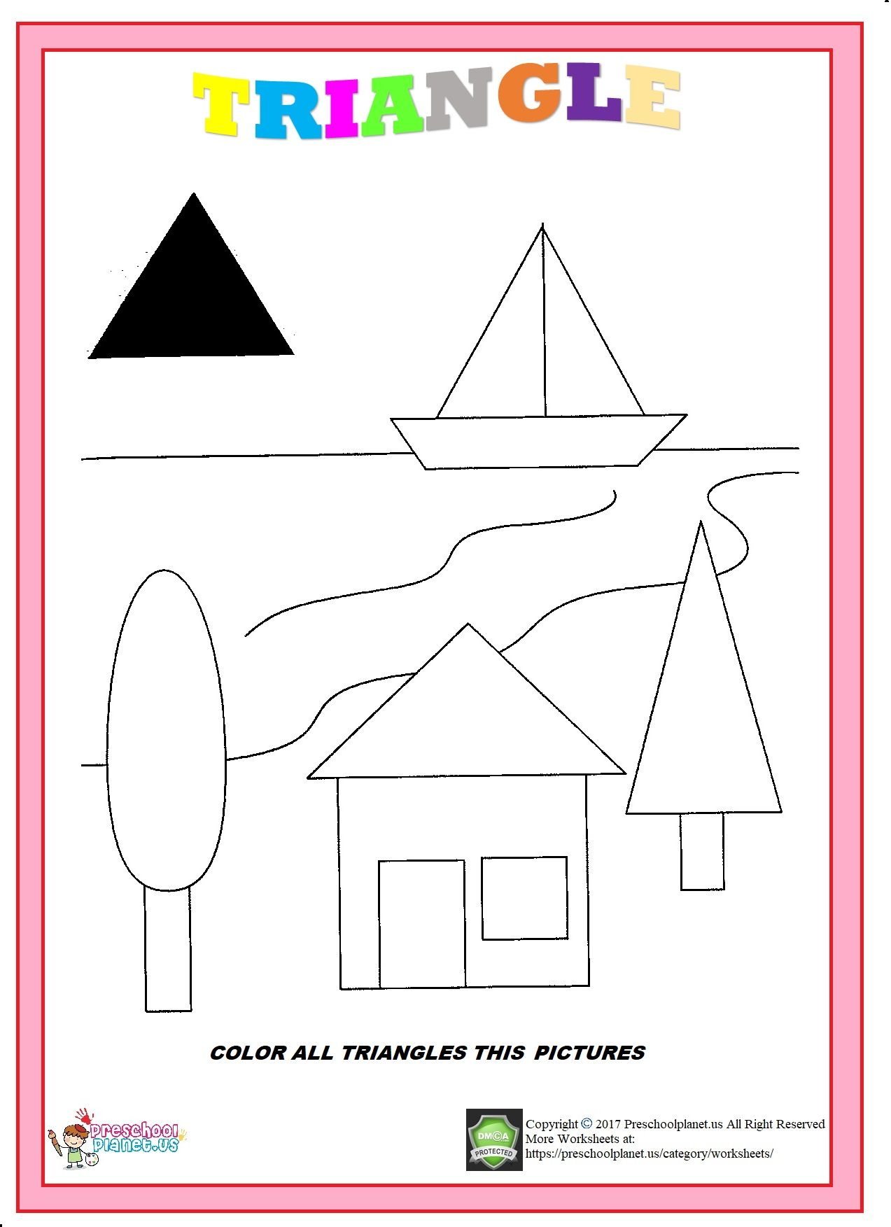 Halloween Preschool Triangle Worksheet