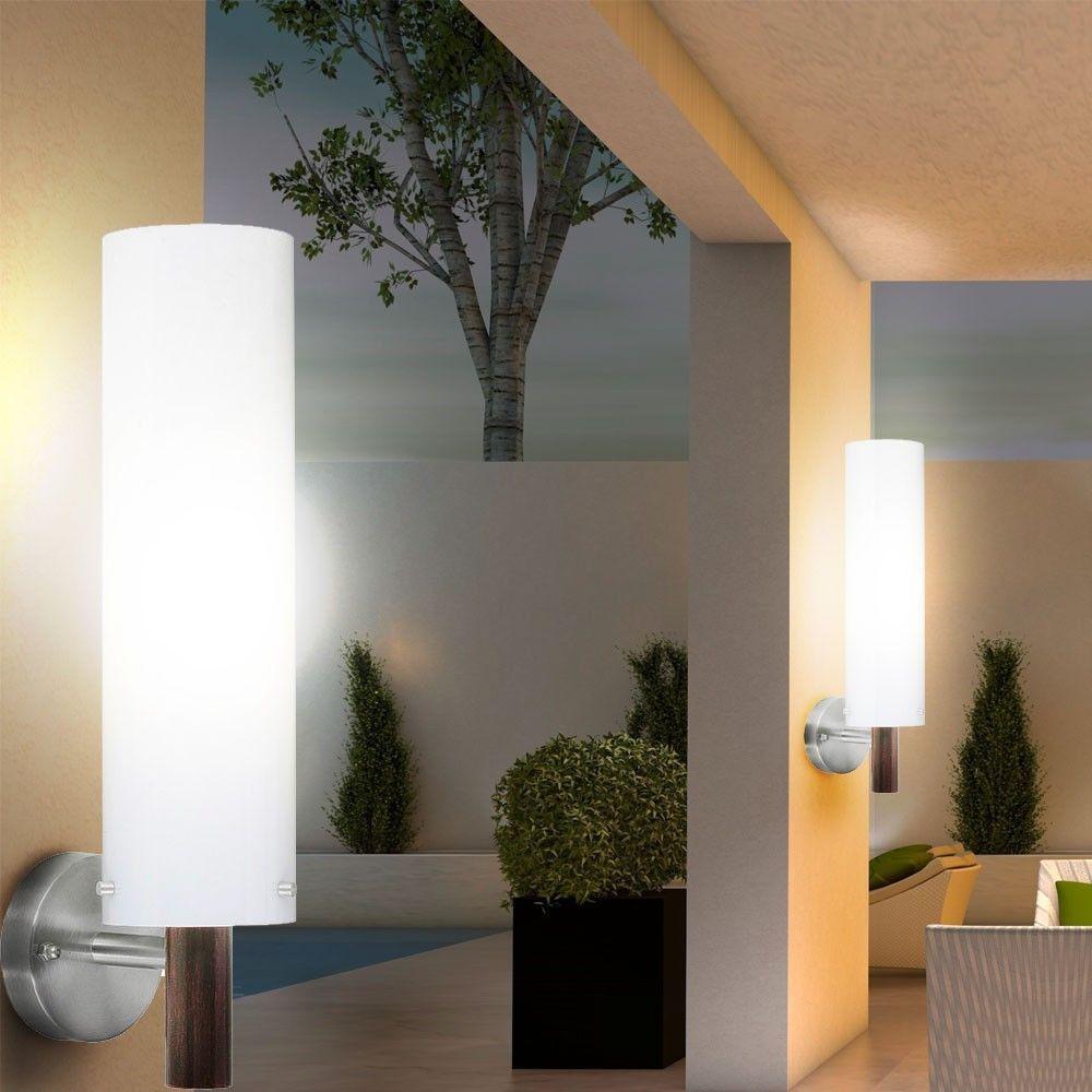 2 x Außen Wand Haus Tür Lampe Edelstahl Garten Leuchte Balkon ...