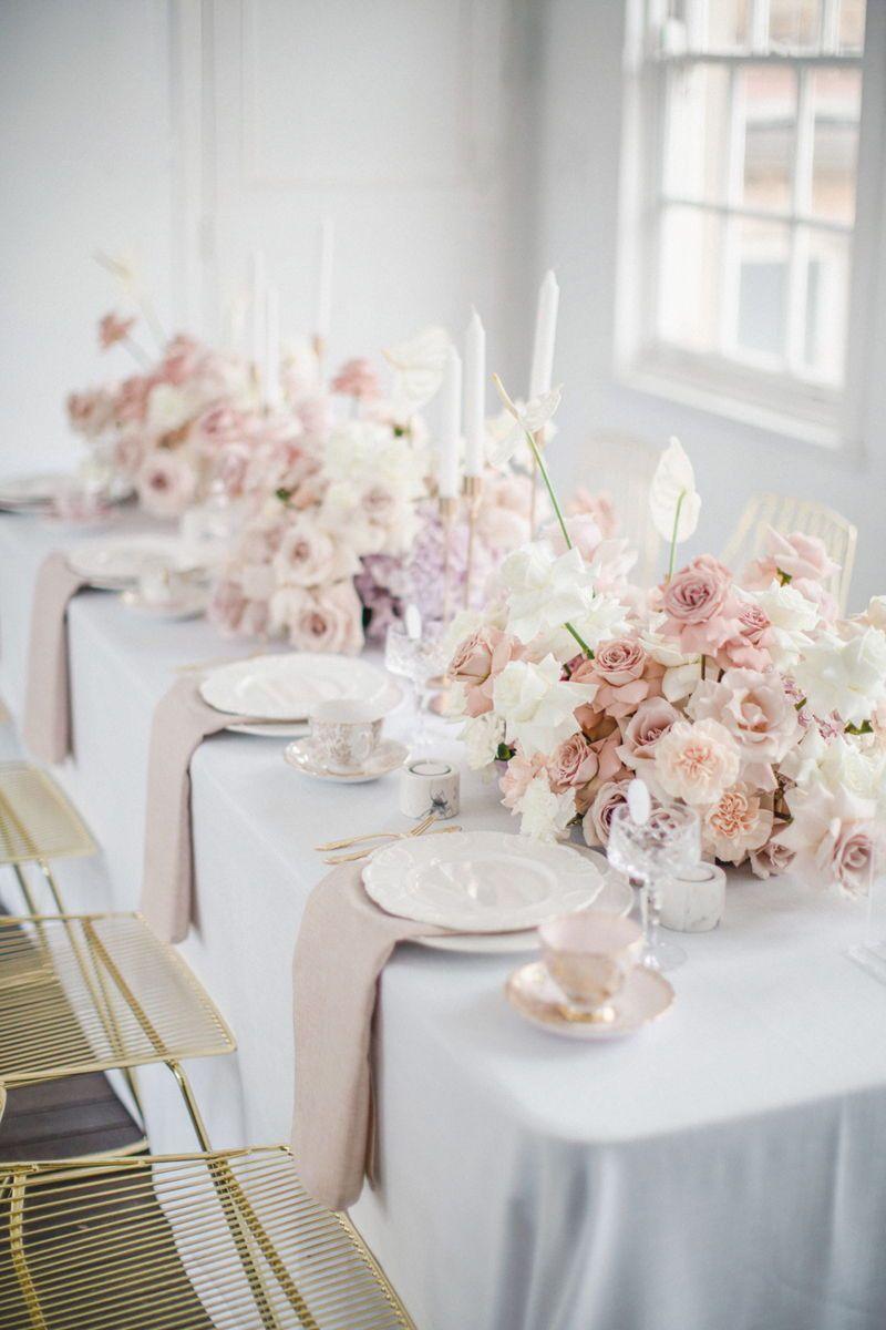 Elegant Pastel Pink Dinner Party Pastel Bridal Shower