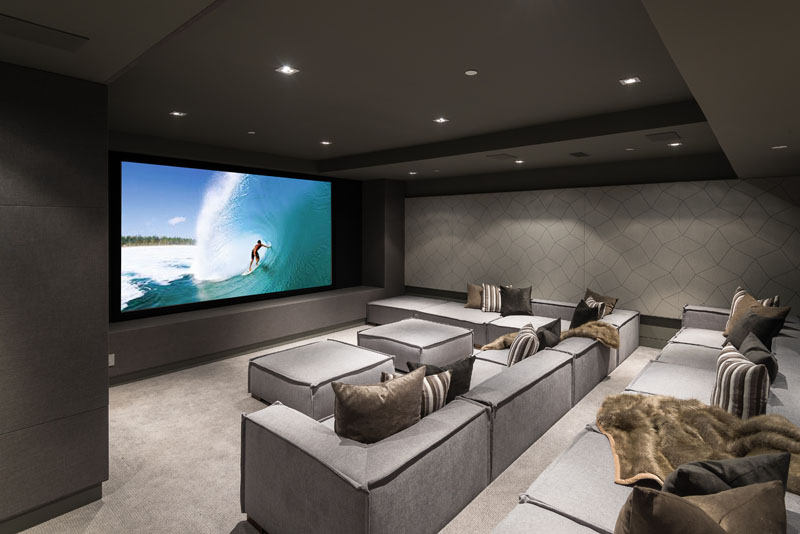 Modern Home Theater Movie Room 170518 145 13 Contemporist In 2020 Home Cinema Room Home Theater Seating Small Home Theaters