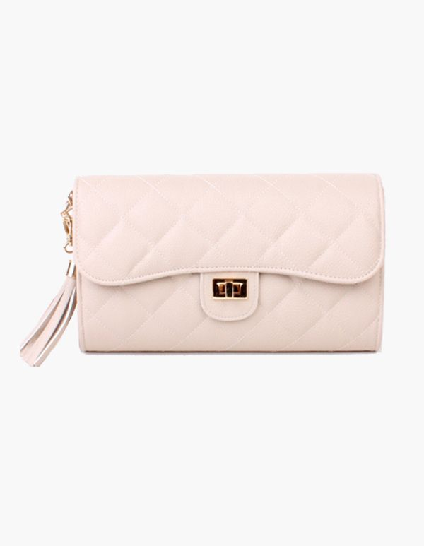 Luxurious Quilted Chain Cross & Shoulder Bag In Ivory #vovobag #fashion #Ivory #cream #classic #emboss #quilted #clutches