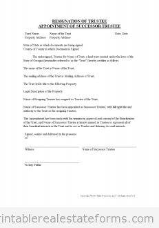 Sample Printable Resignation Of Trustee And Appointment Of Successor Trustee Form Real Estate Forms Resignation Form Legal Forms