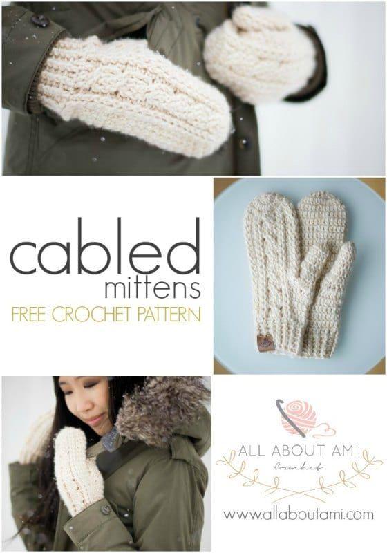 Crochet Cabled Mittens | c r o c h e t / k n i t t i n g | Pinterest ...