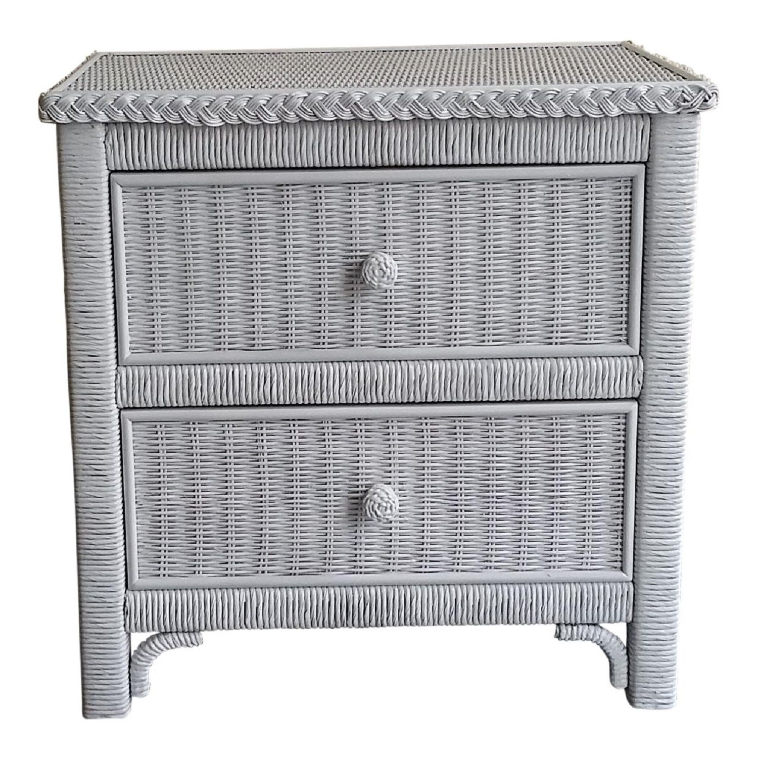 Lexington Henry Link White Wicker Two Drawer Commode