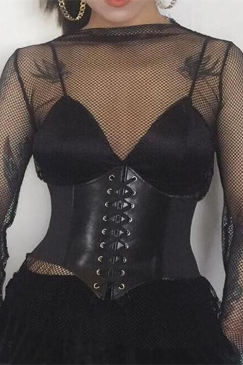 Vintage Black Leather Corset Belt